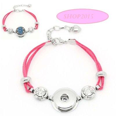 bracciale in alcantara  rosa con strass adatto a bottone a pressione(clip)