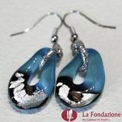 Goccia Argento Azzurri - Orecchini in vetro di Murano