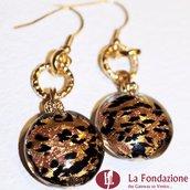 Tigrati Gold - Orecchini in vetro di Murano