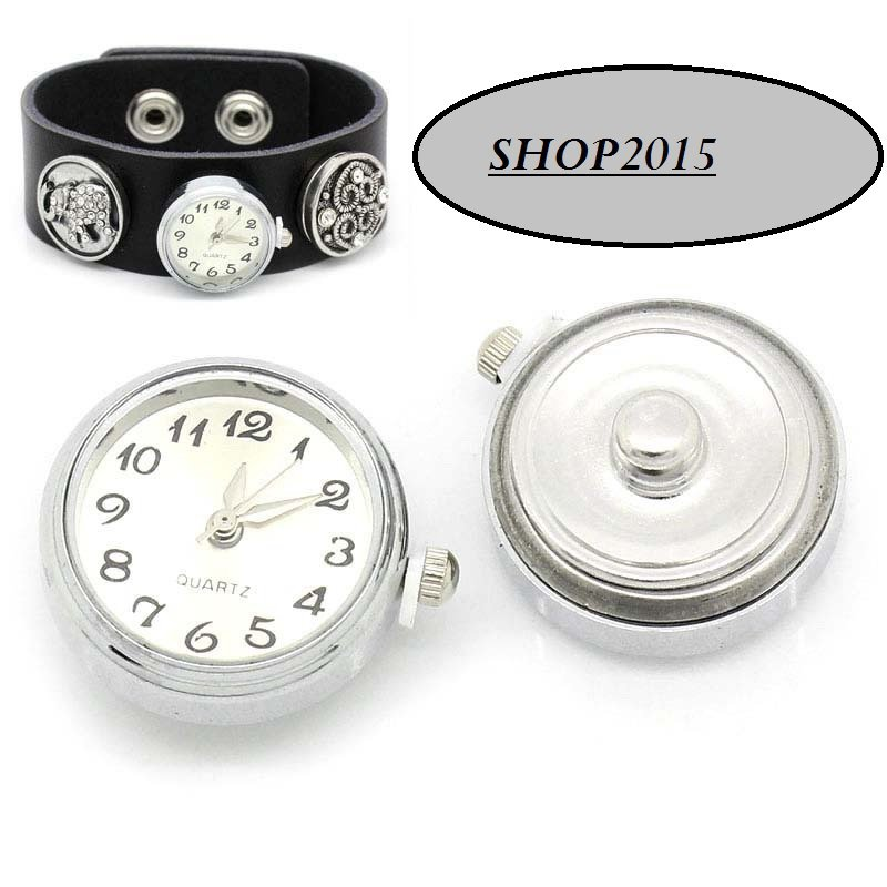base Orologio a bottone a pressione(clip) BIANCO 2,5x2,1cm con batteria