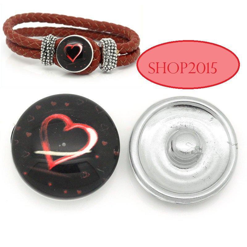 bottone a pressione(clip) in vetro modello cuore 1,8 cm