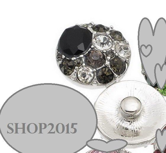 bottone a pressione, clip 2 cm dia  con strass multicolor  grigio/bianco/nero
