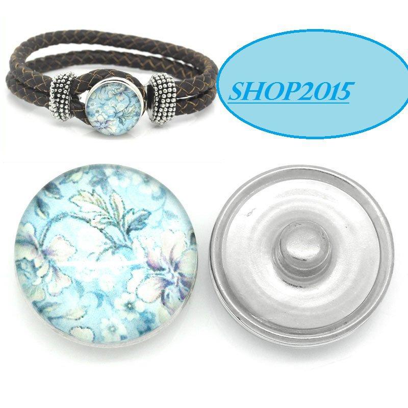 bottone a pressione(clip) in vetro modello con fiori azzurri  1,8 cm
