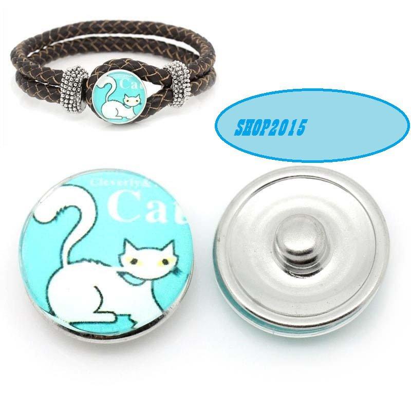 bottone a pressione(a scatto) in vetro modello con gatto 1,8 cm