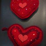 Cuore uncinetto San Valentino decorato