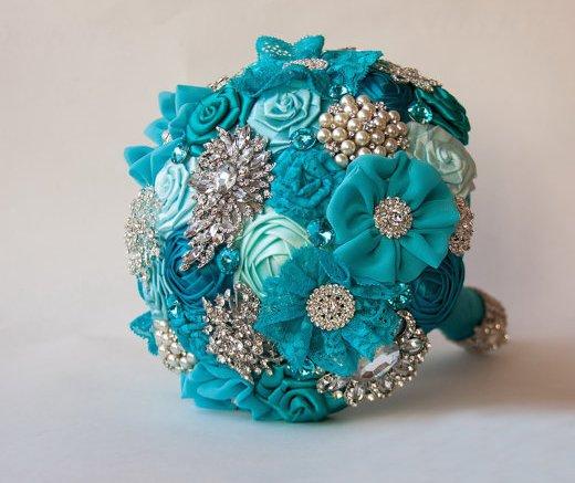 Bouquet di spilla, turchese tessuto .Bouquet di nozze