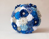 VENDITA!!! Spilla Bouquet, blu - bianco tessuto Bouquet, Bouquet da sposa sposa