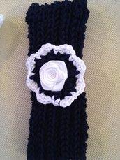 Fascetta neonata cotone blu fatta a mano