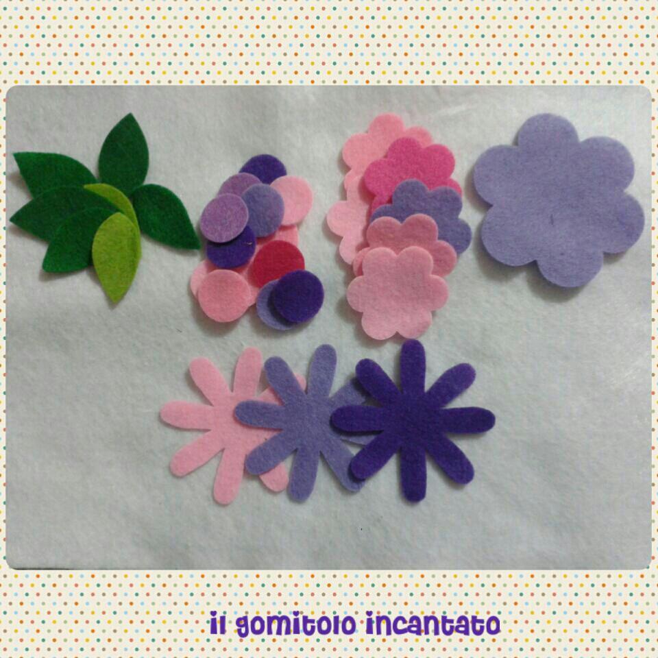 Mix foglie e fiori pannolenci