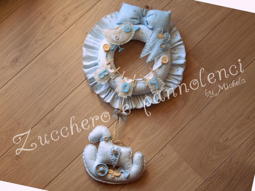 Fiocco nascita neonato. Ghirlanda, corona bimbo. Idea regalo originale.