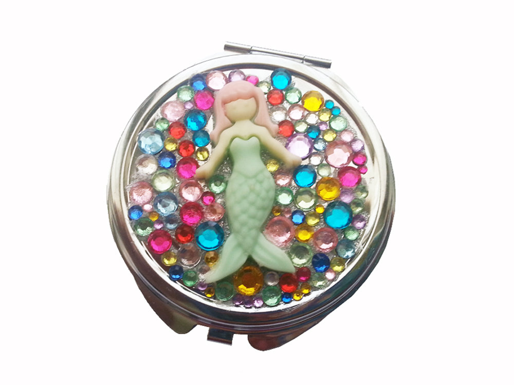 Specchietto compatto da borsetta sirena diamanti strass idea regalo sirenetta fashion