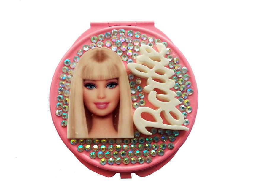 Specchietto da borsetta compatto make up Barbie idea regalo ragazza strass argento PEZZO UNICO!