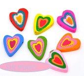5 mix Perle  distanziatori  cuore multicolore 2,7 x2,1 cm in Legno