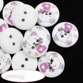 bottone tondo 15 mm  con orsetto  per scrapbooking o bijoux