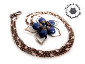 Collana Artigianale stile vintage Fiore a petali lavorati a mano in bronzo anticato wire