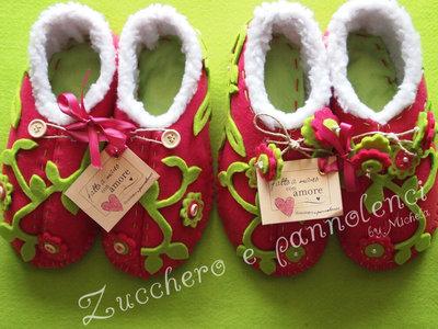 Pantofole donna in feltro di lana. Esclusive, originali, stravaganti, calde. Da parquet.