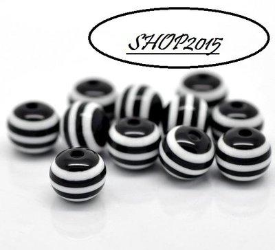 10  Perle a Sfera  in resina 8 mm a striscee nero/bianco