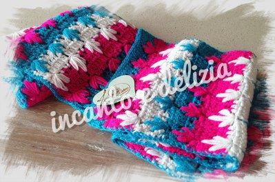 Sciarpa multicolor fiori, misto lana