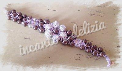 Bracciale macramè fiore in strass e perle