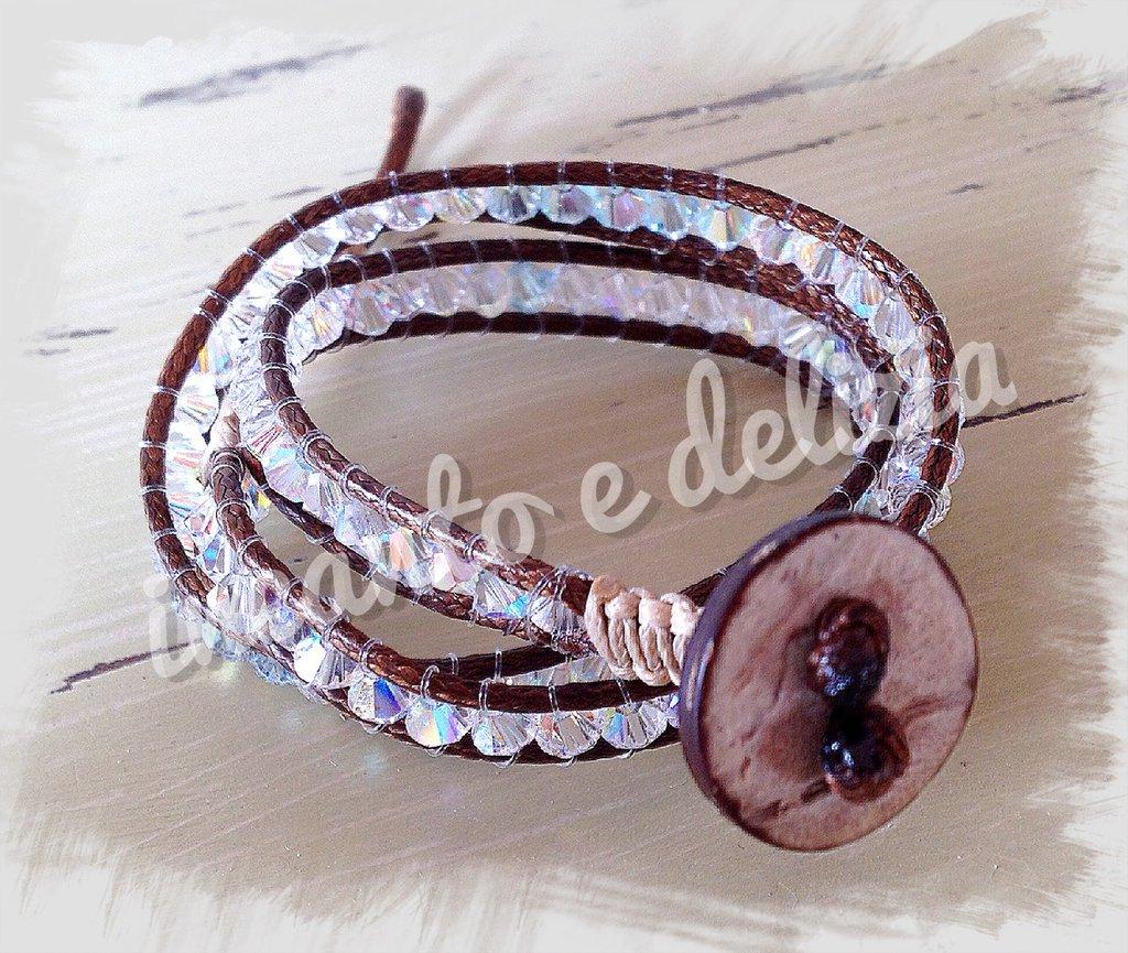 Bracciale luminoso macramè a 3 giri con perle