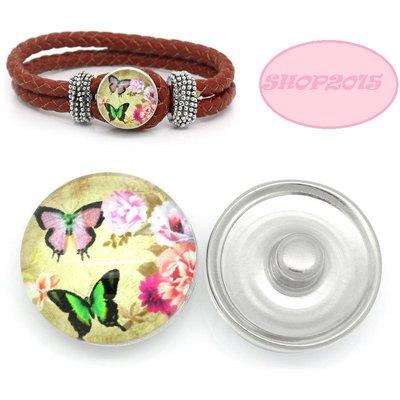 bottone a pressione(clip) in vetro modello con  farfalle e fiori 1,8 cm