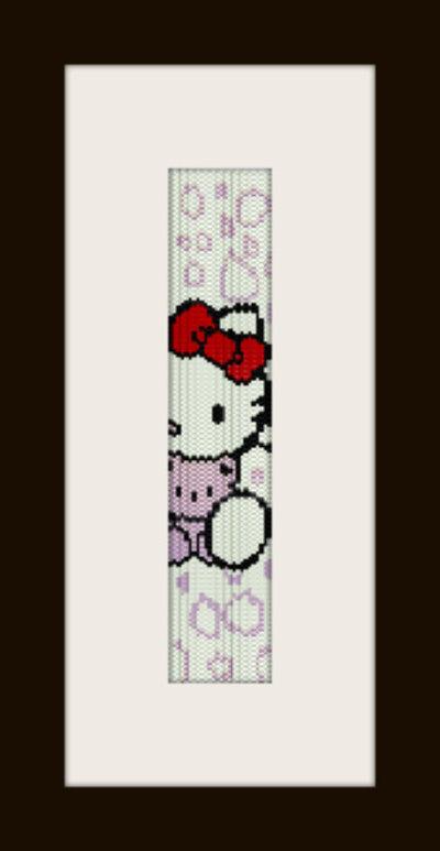 PDF schema bracciale Hello Kitty in stitch peyote pattern - solo per uso personale