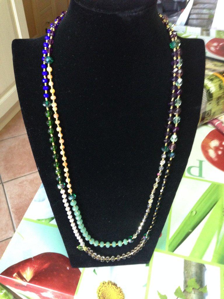 collana cristalli multicolor