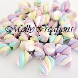 Lotto 10 pz ciondoli charms marshmallows in Fimo col. misti