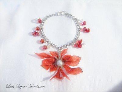 Braccialetto bracciale con ciondolo fiore rosso fatto in Sospeso Trasparente