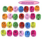 25 perle  in legno Distanziatori Lettere alfabeto  A-Z  (UN SET) colori mix 8 mm