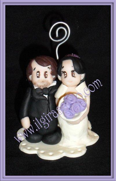 Sposini segnaposto matrimonio personalizzat con spirale portafoto, newlyweds, placemarks marriage