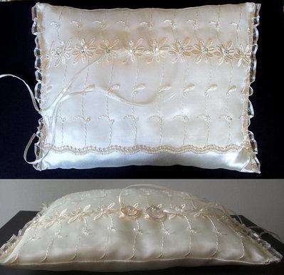 PORTAFEDI cuscino nozze  rettangolare  colore panna, cuscino per anelli, IN STOCK