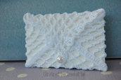 Bomboniera - segnaposto matrimonio, bustina portabiglietto con perla ad uncinetto