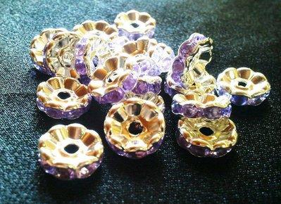 Lotto 10 rondelle strass 8mm colore lilla
