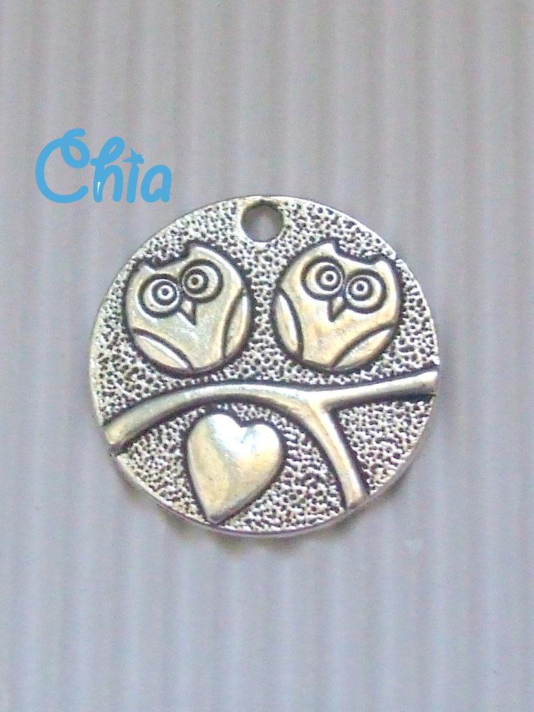 1 charm medaglione 2 gufetti + cuore 25mm
