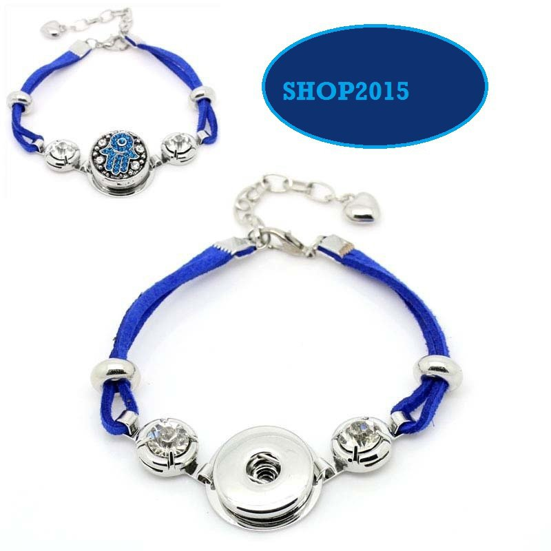 bracciale in alcantara blu con strass adatto a bottone a pressione(clip)