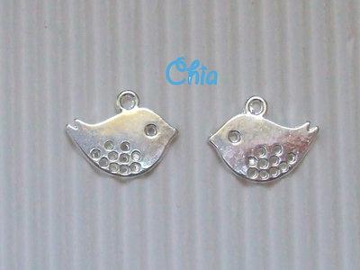 8 charms uccellini 16x13mm metallo argentato