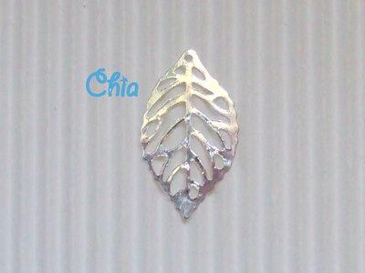 5 charms foglia 24x13mm metallo argentato