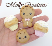 Lotto 4 pz ciondoli charms cookies e cupcakes kawaii  in Fimo