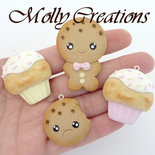 Lotto 4 pz ciondoli charms cookies e cupcakes kawaii  in Fimo