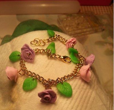Bracciale rose viola e rosa pastello