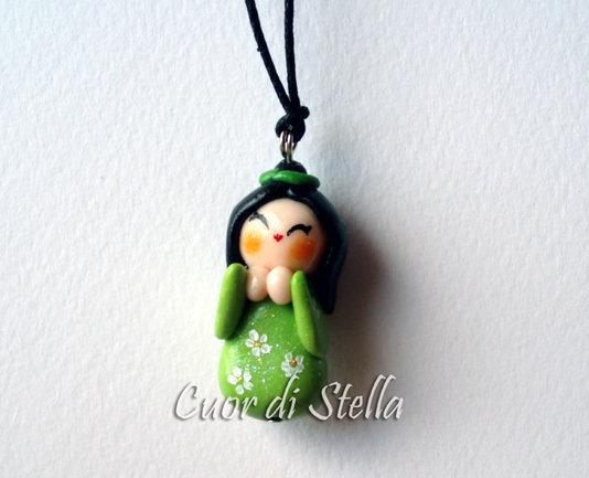 Collana Kokeshi verde piccola