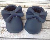 Scarpine mocassini in ecopelle blu con fiocco e frange - Bambina 3-6 mesi