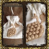 Sacchetto cotone con applicazione uncinetto, fatto a mano