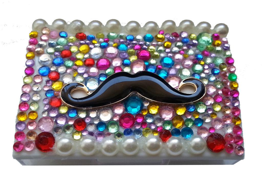 Portalenti a contatto Baffi con strass fashion idea regalo donna - PEZZO UNICO!