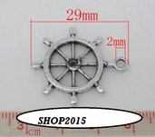 Charm Ciondolo Timone Timone Argento antico 2,9×2,5 cm