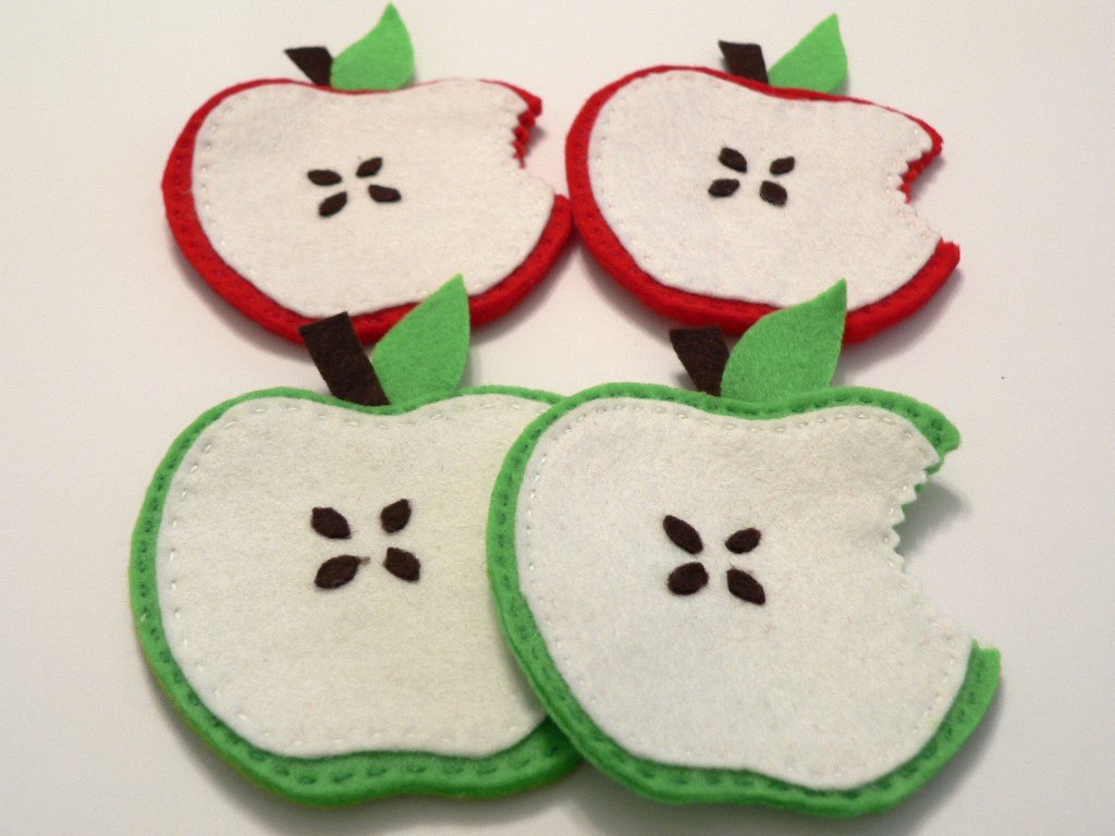Sottobicchieri in feltro, a forma di mela