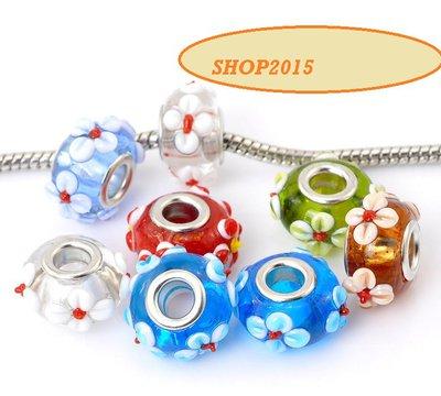 4 mix  perle a foro largo multicolor con fiore 17x10 mm