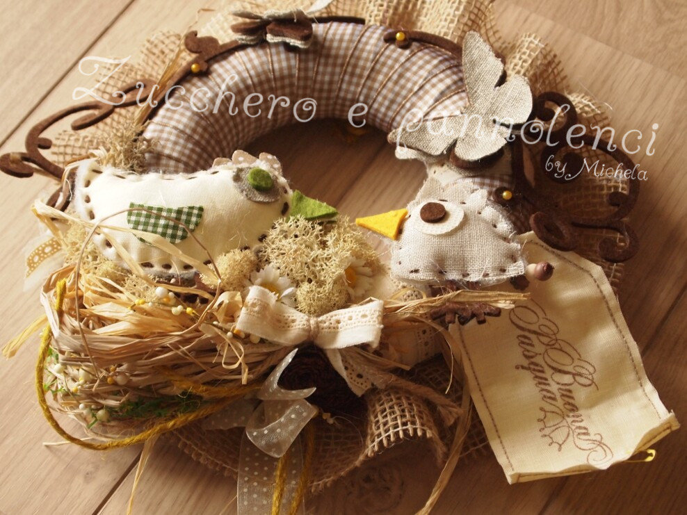 Ghirlanda corona per porte.Decorazioni Pasqua.Idea regalo originale.