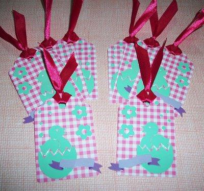 Pasqua Collection^^ - Lotto Etichette ChiudiPacco Pasqualine^^ Tag Decorative per Packaging e Scrapbooking (4pz) - Pink for Girl^^